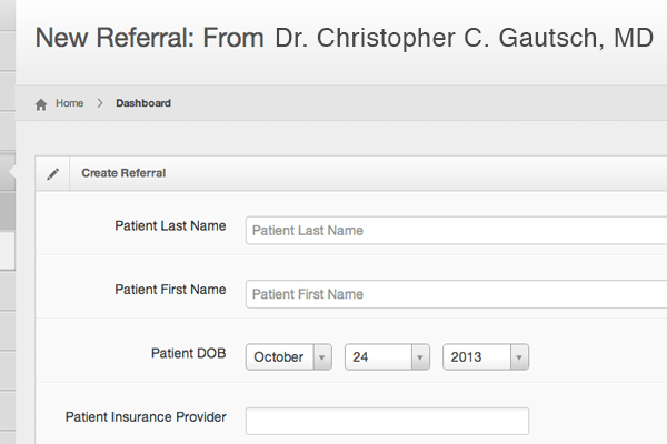 referral creation form screenshot